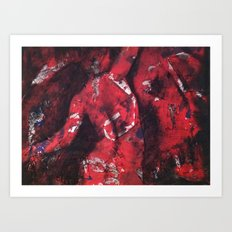 Nude in Red & Black Art Print