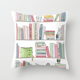 Bookshelf with cats - Watercolor illustration Throw Pillow