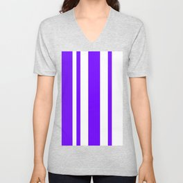 Mixed Vertical Stripes - White and Indigo Violet Unisex V-Neck