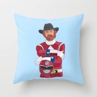 power ranger Throw Pillows featuring Walker Texas Power Ranger by Emily Niland