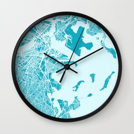 Boston City Map | Massachusetts - United States | Blue & Cyan | More Colors, Review My Collections Wall Clock
