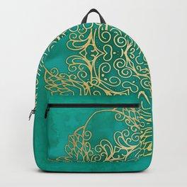 Turquoise & Gold Mandala Backpack