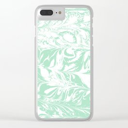 Asa - spilled ink mint marble japanese watercolor marbling marbled water wave ocean sea minimal Clear iPhone Case
