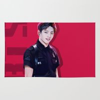 kpop Area & Throw Rugs featuring BTS - JungKook by Nikittysan