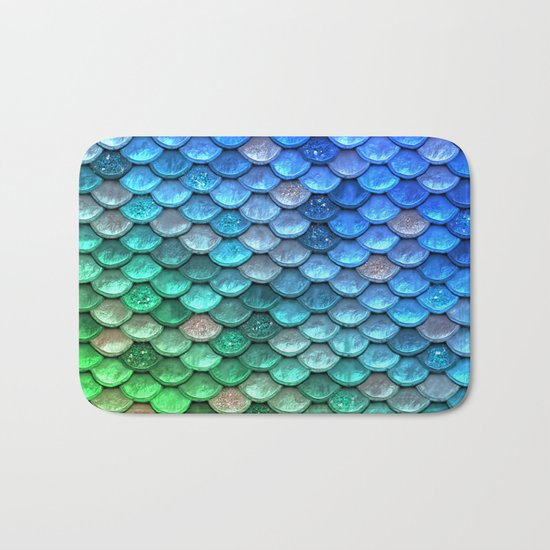 Aqua Teal & green shiny mermaid glitter scales Bath Mat