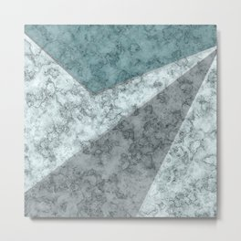 Combined abstract pattern .Green marble . Metal Print