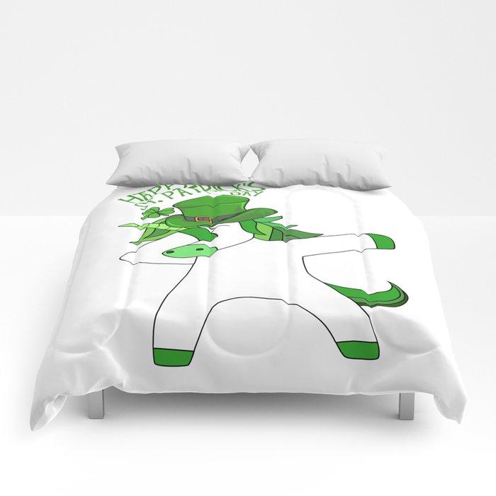 St Patricks Day Funny Dabbing Unicorn Lepricorn Comforters