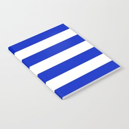 Cobalt Blue and White Wide Cabana Tent Stripe Notebook