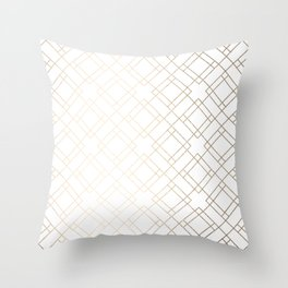 Simply Mod Diamond White Gold Sands on White Throw Pillow