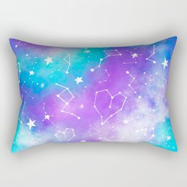 Modern nebula ultra violet watercolor hand painted white constellation stars universe small pattern Rectangular Pillow