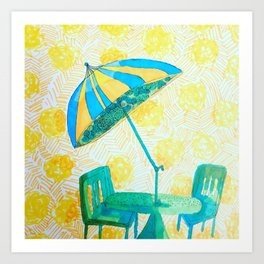 Yellow strips Art Print