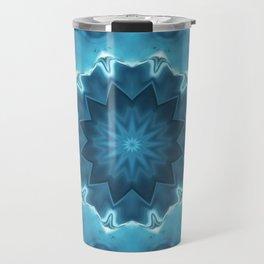 Blue mandala . Kaleidoscope . Winter . Travel Mug