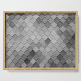 Fifty Gray Shades of Tiles (Black and White) Serving Tray