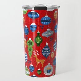 Holiday Ornaments in Red + Blue + Green Travel Mug