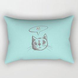 The Cat Says Mu (Blue) Rectangular Pillow