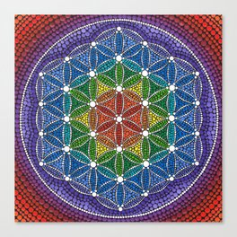 Rainbow Happy Flower of Life Canvas Print