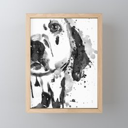Black And White Half Faced Dalmatian Dog Framed Mini Art Print