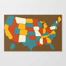 Map of Most of the United States of America (USA) Canvas Print