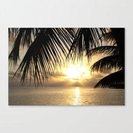 Sunset Through the Palms, Maldives  Canvas Print