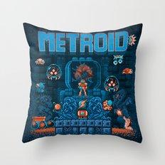Metroids Throw Pillow