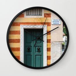 Colorful house with blue teal door | Travel Photography Italy | Fine art photo print | Wall Clock