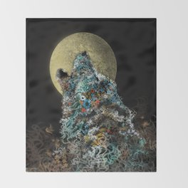 floral animals howling wolf Throw Blanket