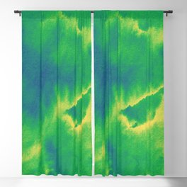 Watercolor texture - green and blue Blackout Curtain