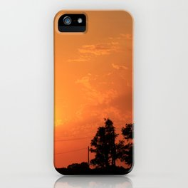 Kansas Orange Sunset with power Lines iPhone Case