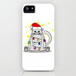 White Cat Christmas iPhone Case
