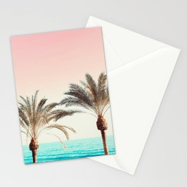 Modern California Vibes pink sky blue seascape tropical palm tree beach photography Stationery Cards