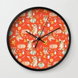 Welsh Corgi Dog Breed Fall Party -Cute Corgis Celebrate Autumn With Pumpkins Mushrooms Leaves - Orange Red Wall Clock