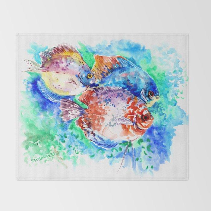Underwater Scene Artwork, Discus Fish, Turquoise blue pink aquatic design Throw Blanket
