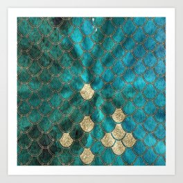 Multicolor Aqua And Gold Mermaid Scales -  Beautiful Abstract Pattern Art Print