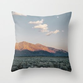 Sierra Mountains with Harvest Moon Throw Pillow