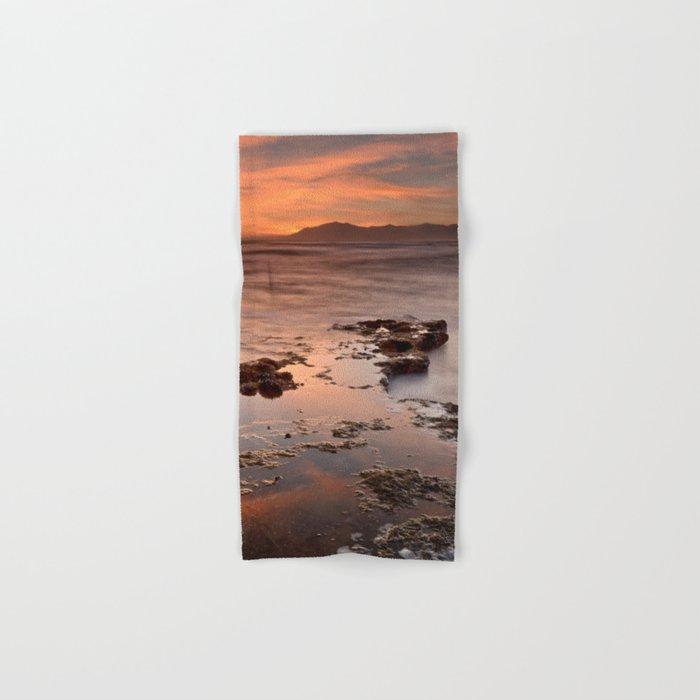 """Last red light"" Sunset at the sea Hand & Bath Towel"