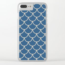 Blue & Beige Fish Scales Pattern Clear iPhone Case