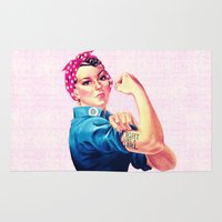 sayings Area & Throw Rugs featuring Fight Like A Girl Rosie The Riveter Girly Mod Pink by Girly Road