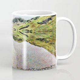 Buttermere Mirror Green Mountains, Lake District, UK. Watercolour landscape. Coffee Mug