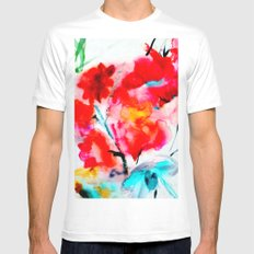 RED MEDIUM Mens Fitted Tee White