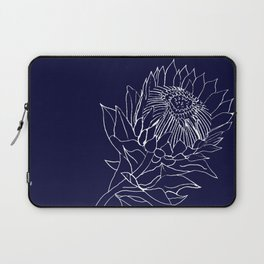 King Protea Outline - Navy and White Laptop Sleeve