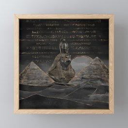 Horus on Egyptian pyramids landscape Framed Mini Art Print