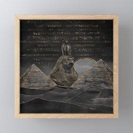Horus on Egyptian pyramids landscape Framed Mini Art Print