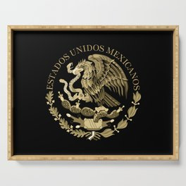 Mexican flag seal in sepia tones on black bg Serving Tray