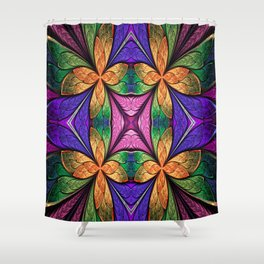 Stained Glass Floral Dream Shower Curtain