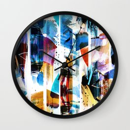 Colorful brushed stripes painting Wall Clock