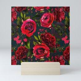Autumn dark red roses Mini Art Print