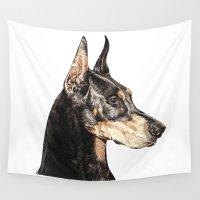 doberman Wall Tapestries featuring Doberman Pinscher dog by Natt