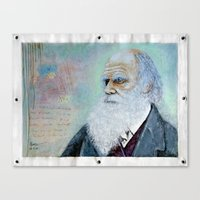 darwin Canvas Prints featuring Charles Darwin by Michael Cu Fua