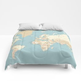 "Cream, brown and muted teal world map, ""Jett"" Comforters"