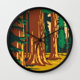 Sequoia and Kings Canyon National Park in Sierra Nevada California United States WPA Poster Art  Wall Clock